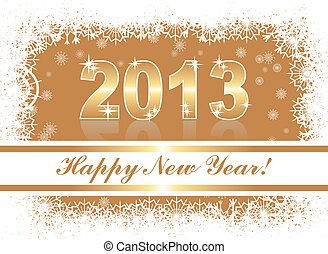 christmas and new year card with 2013 on a gold winter background