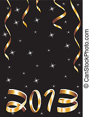 christmas and new year card with gold tapes and 2013 on a black background