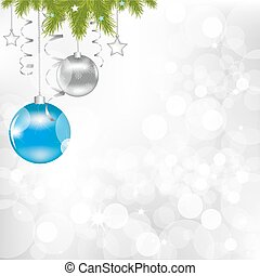 Christmas And New Year Illustration With New Year's Sphere And Stars, Vector Illustration