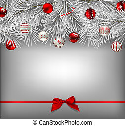 White fir branches covered with snow and decorated with baubles on gray background tied with red bow, Christmas illustration