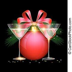 Christmas ball with glasses