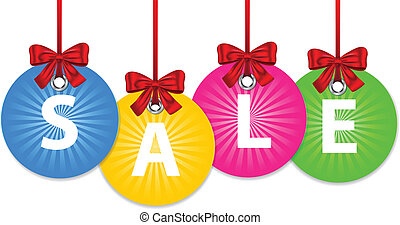 Colorful shiny Christmas balls tied with red bow and with the word sale. New year shopping labels. Vector