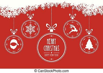 christmas balls hanging red background