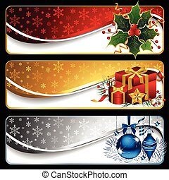 Vector set of three elegant Christmas banners isolated on black.