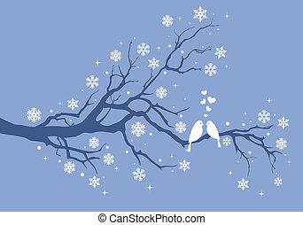 Christmas birds on winter tree