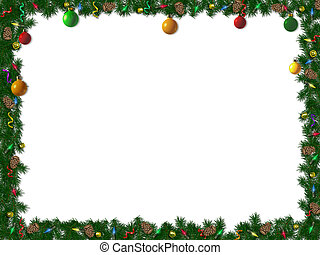 holiday border of spruce, ornaments and lights