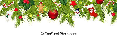 Christmas Border With Xmas Garland Isolated On White Background With Gradient Mesh, Vector Illustration