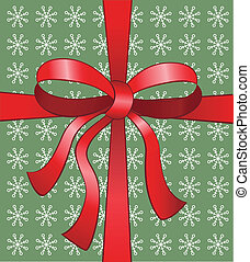 Red christmas vector bow on snowflake background