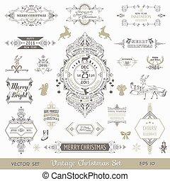 Christmas Calligraphic Design Elements and Page Decoration, Vintage Frames - vector set