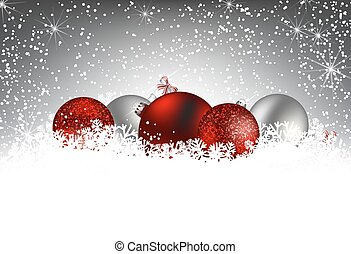 Christmas card. Christmas baubles in snow on gray winter background with falling snow and lights. Space for text.