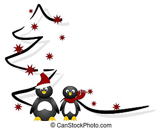 vector illustration of penguins in front of an abstract christmas tree