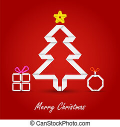 Christmas card with folded paper tree on a red background
