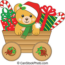 Christmas cart with teddy bear