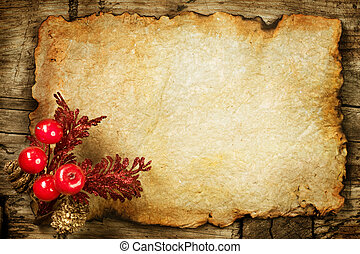 Christmas decorations on the Old Paper. With copyspace