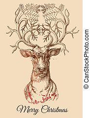 Christmas deer sketch vector illustration