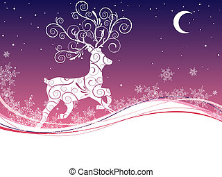 vector illustration of a deer on a christmas background