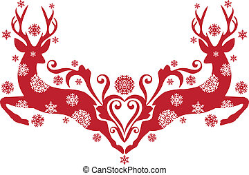 red christmas deer with snowflakes, vector background