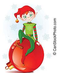 Christmas Elf sitting on Christmas