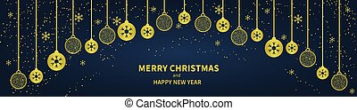 Christmas golden balls and confetti on a dark blue background. Congratulatory Christmas text. Horizontal Christmas banner, headers, sites. Flat modern design. Vector
