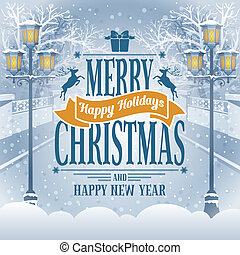 Christmas vintage card with the lanterns in snow-covered park. Detailed vector picture.