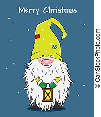 Christmas greeting card. cute gnome with lantern