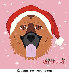 Christmas greeting card. German Shepherd dog with red Santa's hat