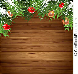 Christmas greeting card with wooden background