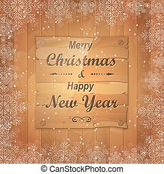 Christmas greeting card with wooden board in the middle