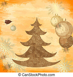Christmas grunge background with a tree