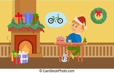 Christmas Holidays Boy Writing Letter to Santa