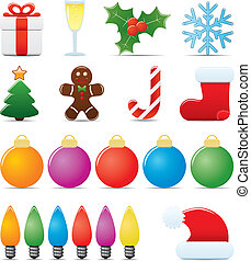 Christmas Icon Set. Easy To Edit Vector Image.