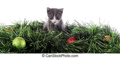 A bottom border composed of an adorable kitten among Christmas decorations. Isolated on white.
