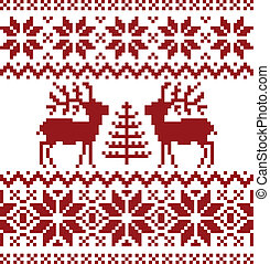 Collection of christmas norwegian pattern, isolated on white background.