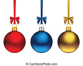 Three cute hanging Christmas ornaments in diferent colors, isolated on white.