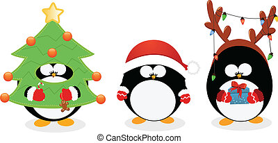 Cute little penguins with christmas costumes.