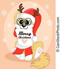 Christmas poster of a dog. Cute winter background with text merry christmas.