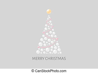 Christmas poster with abstract tree and gray background. Illustration contains text: Merry Christmas. Christmas tree is created from semi transparent bubbles and one big on the top as a star.