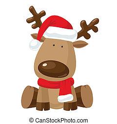Christmas reindeer in Santa`s red hat