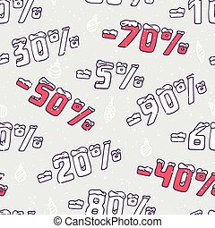 Christmas sale seamless pattern. Hand drawn numbers in doodle style. Winter background