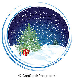 Christmas scene in circle background, vector illustration