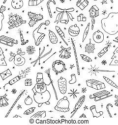 Christmas seamless pattern in doodle style. Hand drawn illustration.