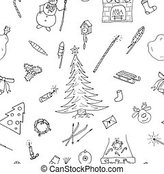 Christmas seamless pattern in doodle style. Hand drawn