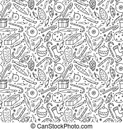 Christmas seamless pattern in doodle style.