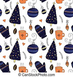 Christmas seamless pattern in hand drawn cute style.