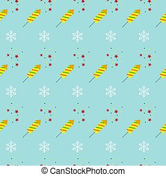 Christmas seamless pattern with fireworks. Vector illustration.