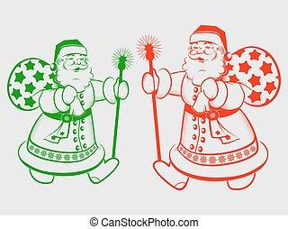 Christmas silhouette Santa Claus