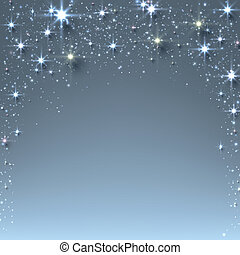 Blue christmas abstract texture background. Holiday illustration with stars and sparkles. Vector.