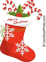 Christmas Stocking Stuffed with Candy Canes, vector illustration