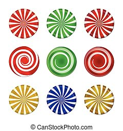 Christmas striped candy set. Spiral sweet mint goody with stripes. Vector illustration isolated on a white background.