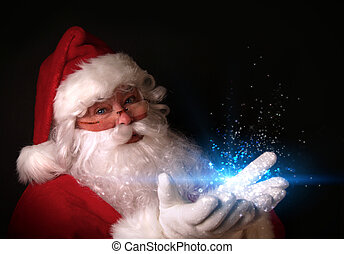 Christmas theme with Santa holding magical lights in hands